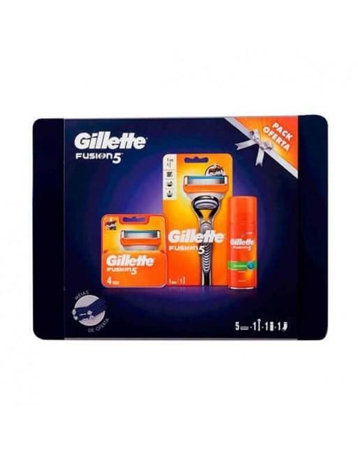 GILLETTE FUSION 5 MAQUINA+RECAMBIOS 4 UN+GEL AFEITAR 75 ML+CALCETINES+LATA